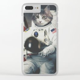 astro cat usa Clear iPhone Case