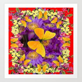 RED GOLDEN BUTTERFLIES PURPLE-YELLOW FLORAL Art Print