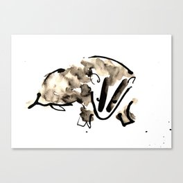 British Badger Ink and Watercolour Illustration Canvas Print