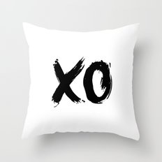 XO Hugs and Kisses black and white xoxo gift for her girlfriend bedroom art and home room wall decor Throw Pillow