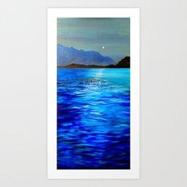 Moonrise Over Lake Como Art Print