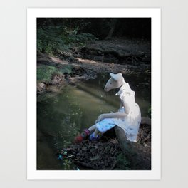 Miss Mouse by the Stream Art Print