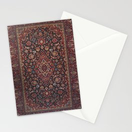 Central Persia Kashan Old Century Authentic Colorful Red Blue Purple  Vintage Patterns Stationery Cards
