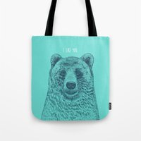 i like you Tote Bags featuring I Like You (Bear) by Rachel Caldwell