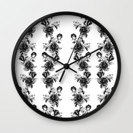 simple watercolor roses with tendrils seamless pattern black white on white Wall Clock