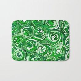 Emerald Green, Green Apple, and White Paint Swirls Bath Mat