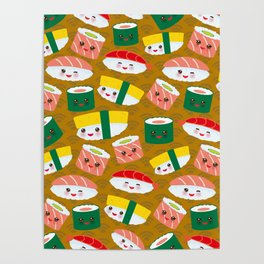 pattern Kawaii funny sushi set with pink cheeks and big eyes, emoji on brown mustard background Poster
