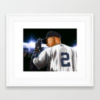 yankees Framed Art Prints featuring Jeter by Ryan Ketley