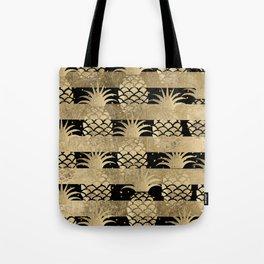 Trendy elegant black faux gold pineapple stripes Tote Bag