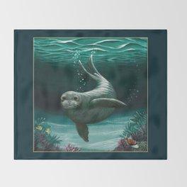 """Hawaiian Monk Seal"" by Amber Marine ~ Acrylic Painting, (Copyright 2015) Throw Blanket"