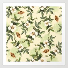 Delicate pattern with flowers and butterflies hips Art Print
