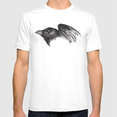 Crow Mens Fitted Tee SMALL White