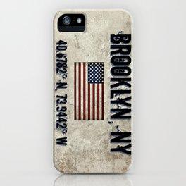 Brooklyn NY, GPS Coordinates iPhone Case