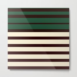 Horizontal Emerald Green  Cream Stripes Metal Print