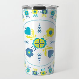 Folk Flowers in Yellow and Turquoise Travel Mug