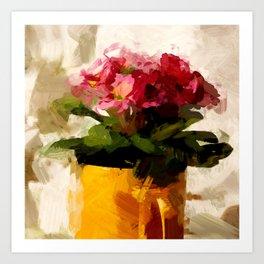 Gelber Becher mit Blumen Art Print