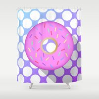 donut Shower Curtains featuring DONUT DONUT DOUGHNUT!! by anthonykun
