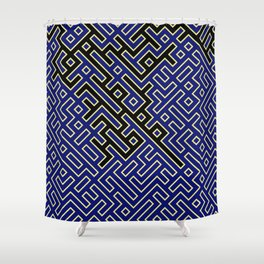 labyrinth in black and blue Shower Curtain