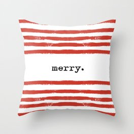 red stripes-merry Throw Pillow