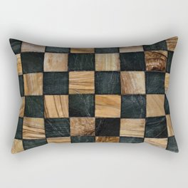 Chequered Past, Carved Wood Chess Board Rectangular Pillow