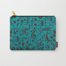 Faux Leather Embossed Musical notes on teal Carry-All Pouch