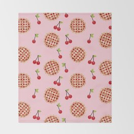 Pies trendy food fight apparel and gifts pink Throw Blanket