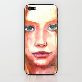 Portrait - RedHair & Freckles iPhone Skin
