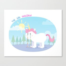 The sad unicorn Canvas Print