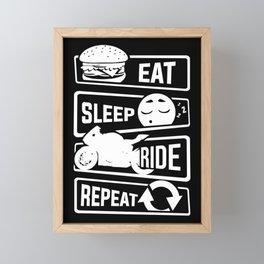 Eat Sleep Ride Repeat - Motorcycle Biker Street Framed Mini Art Print