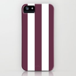 Wine dregs purple - solid color - white vertical lines pattern iPhone Case