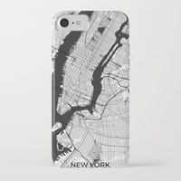 new york map iPhone & iPod Cases featuring New York Map Gray by City Art Posters