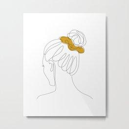 Scrunchie Girl Metal Print