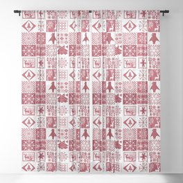 Scandinavian plaid #patchwork #Christmas #Scandinavian Sheer Curtain