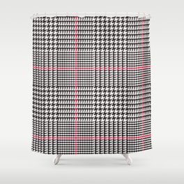 Black and White Glen Plaid with Red Stripe Shower Curtain