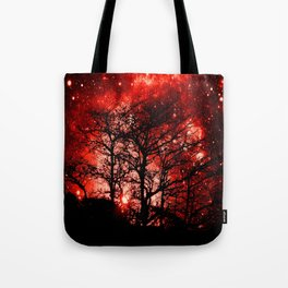 black trees red space Tote Bag