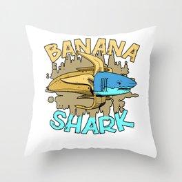 Bananas Shark Throw Pillow