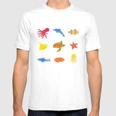 Sea Life! White SMALL Mens Fitted Tee