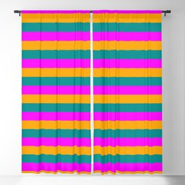 Dark Cyan, Magenta & Orange Striped/Lined Pattern Blackout Curtain