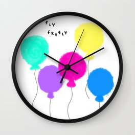 Fly Freely - colorful balloon illustration Wall Clock