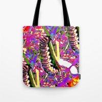matisse Tote Bags featuring Matisse Caterpillar by Ellen Turner
