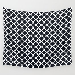 Lattice Black on White Wall Tapestry