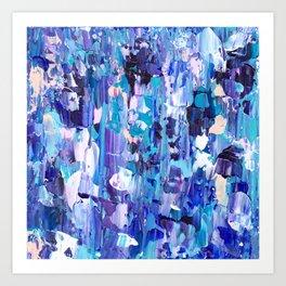 Modern blue acrylic abstract painting brushstrokes Art Print