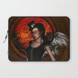 Wonderful steampunk lady with wings and hat Laptop Sleeve