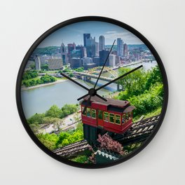 Pittsburgh City Skyline Incline View Wall Clock