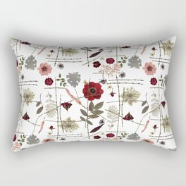 Red Anemones and Roses Rectangular Pillow