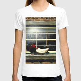 The rooster and a hen on a window Ledge T-shirt