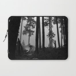 Mountain Biker in the Misty Bike Park Laptop Sleeve