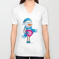 snowman V-neck T-shirts featuring Snowman by frail
