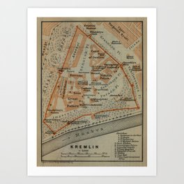 Vintage Map of The Kremlin in Moscow (1914) Art Print