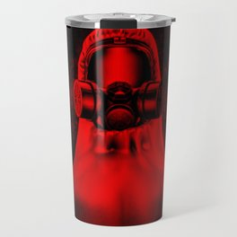 Toxic environment RED / Halftone hazmat dude Travel Mug